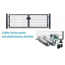 DS 2-flügeliges Einfahrtstor Profi 3,0m mit Toröffner