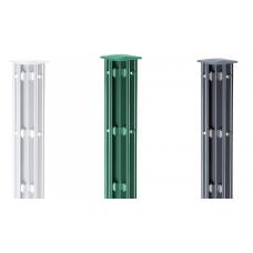 Eck-Zaunpfosten mit Abdeckleisten für Doppelstabmatten zum Einbetonieren
